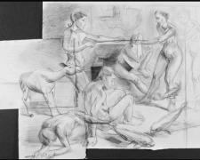 """Study for Tug of War: Assembly 2006 graphite on paper 20 x 22"""""""