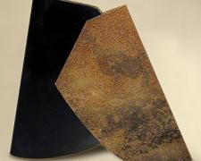 The Letter A: Flat #S4 2004 22 gauge steel with rivets; sandblasted, treated, painted 12 1/3 x 12 1/2 x 1/2""