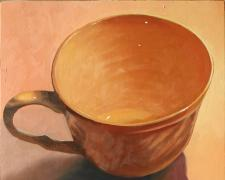 Teacup 3, 2014, oil on board, 12 x 12""