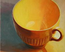 Teacup 2, 2014, oil on board, 12 x 12""