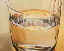 "Glass with Water, oil on board, 16 x 12"", 2015."