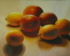 Lemons and Blood Oranges, 2016, oil on board, 24 x 30""