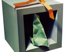 Cube with Paper Object #1, 1997, oil on canvas, 15 3/4 x 15 3/4""