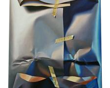 Wrapped Outlook Over Harmonic Grey and Blue Fields, 2011, oil on canvas, 15 3/4 x 12""