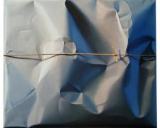 Packed and Stringed Grey Powder Field, 2011, oil on canvas, 33 x 39""