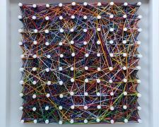 "el reino de los suelos (memento mori), 2021, various colored embroidery cotton string on handbuilt wood frame with pegs, 12 x 12"""
