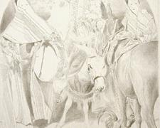 """The Epiphany at Damascus, 2002, graphite on paper, 24 1/2 x 18 1/2"""""""