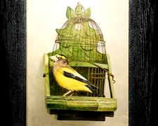 An Evening Grosbeak On A Partridge Cage, 2014, acrylic on panel, i.s. 16 1/2 x 11 / f.s. 15 3/4 x 21""