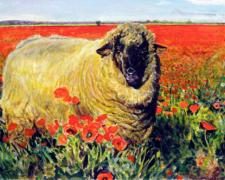 Ewe in a Poppy Field, 2008, acrylic on paper, 6 1/2 x 10 1/2""