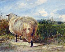 "Ewe in a Landscape 2009 Acrylic on paper 6 1/8 x 5 1/2"" i.s."