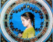 Faith, 2008, collage and acrylic on panel, 8 3/4 x 9 1/2""