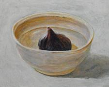 Fig In a Bowl, 2016, acrylic on panel, 4 x 5 7/8""