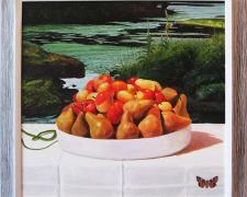 "Frogbit, Boschs and Pink Ladies, 2014, acrylic on panel, 24 x 24"""