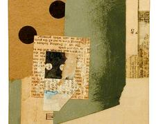 number 4 2004 Collage on board 7 3/8 x 5 5/8""