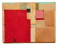 number 28 2004 Acrylic, found paper collage on museum board 6 1/4 x 8 1/8""