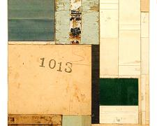 number 41 2004 Acrylic, found paper collage on museum board 9 5/8 x 7 1/2""