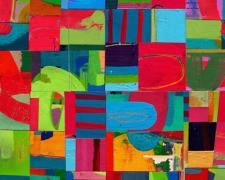All That Jazz 2006 acrylic collage on museum board 16 x 15 1/2""