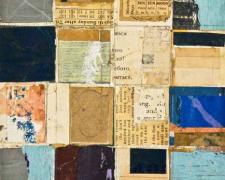 "document #15, 2013, mixed media collage, f.s. 15 1/4 x 12 1/4"" / i.s. 7 1/8 x 5 1/8"""