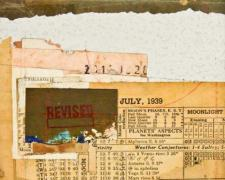 "Scott Gordon, ""document #8"", 2013, mixed media collage, f.s. 15 1/4 x 12 1/4"" / i.s. 7 1/8 x 5 1/8"""