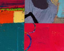 In The Middle With You 3 2006 acrylic collage on museum board 7 x 7""