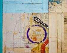 "quadrant, 2013, mixed media collage, f.s. 24 1/2 x 21 1/4"" / i.s. 18 x 14"""