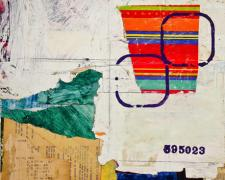 "a turned table I, 2012, mixed media collage, f.s. 19 3/4 x 16 3/4"" / i.s. 13 3/4 x 10 3/4"""