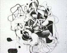 Emptiness, 2008, ink on paper, 6 1/2 x 6 3/4""