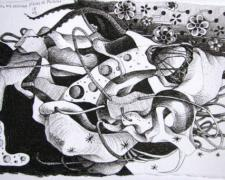 Where Are My Missing Pieces of Puzzles?, 2008-09, ink on paper, 3 1/4 x 5""