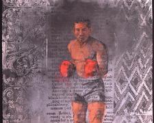 "Boxer 1 2015 charcoal, silkscreen 30 x 22"""