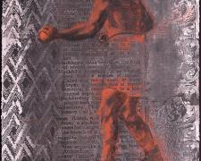 "Boxer 2 2015 charcoal, silkscreen 30 x 22"""