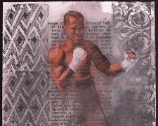 "Boxer 3 2015 charcoal, silkscreen 30 x 22"""