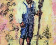 "Boy Staff Study, 2005, mixed media on paper, 11 1/4 x 15"""