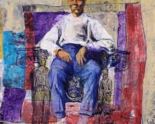 Elder Man Acropolis Throne, 2005, mixed media on paper, 24 x 24""