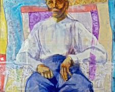 Elder Man Study, 2005, mixed media on paper, 24 x 24""