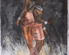 """Massai II 2014 woodcut, acrylic, charcoal 48 x 36"""""""