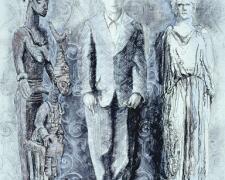 "Olowe Boy Acropolis, 2005, mixed media on paper, 42 x 30"""