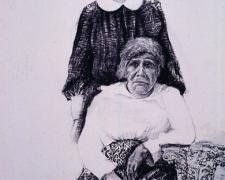 Two Elder Women, 2005, mixed media on paper, 42 x 30""