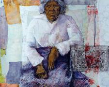 "Woman Lock, 2005, mixed media on paper, 24 x 24"""