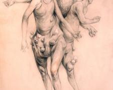 "Figure with 3 legs & 3 Bodies 2013 graphite, acrylic on panel 12 x 9 x 2"""
