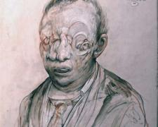 Anatomy of the Godspot, 2009, chalk, graphite, acrylic on panel, 9 11/16 x 7 3/4 x 2 11/16""