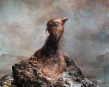 """Monument with Bird Head, 2010, acrylic on panel, 15 7/8 x 12 x 1 3/4"""""""