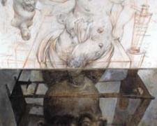 "Birth and Death, 2008-09, chalk, graphite, acrylic on panel, 9 11/16 x 7 3/4 x 2 11/16"""