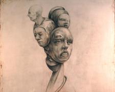"Bouquet, 2014, graphite, acrylic on panel, 19 7/8 x 16 3/4 x 2 1/4"""