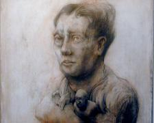 "Bud 2005 Graphite, acrylic, canvas on panel 16 x 14 1/2 x 2 1/2"""