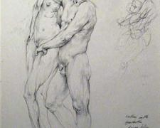 """Cellini with Synthetic Figure Drifting, 2008, graphite on paper, 11 3/8 x 7 1/2"""""""