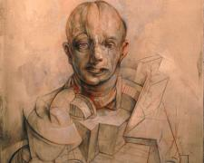 "Portrait of Charlie, 2014, graphite, acrylic on panel, 12 x 9 x 2 3/8"""