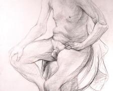 "Chess Piece 2004 Graphite, red chalk on paper 44 x 30 1/2"""