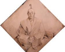 "Daimyo 2013 graphite, acrylic on panel 11 x 11 x 1"""