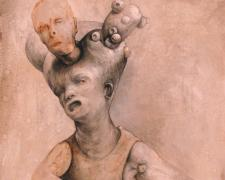 """Doll with Buds, 2013, graphite, acrylic on panel, 10 x 8 x 2"""""""
