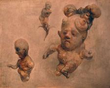 Three Figure Effigy Group, 2010, acrylic on panel, 8 x 10 x 1 5/8""